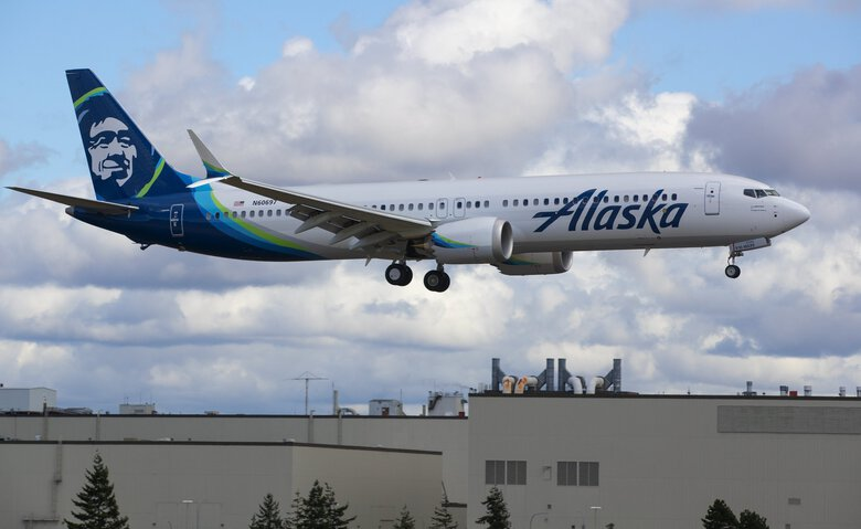 A Boeing 737 MAX 9 built for Alaska Airlines takes a flight test out of Everett in March. (Mike Siegel / The Seattle Times)