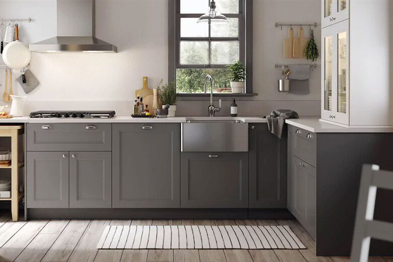 A popular way to save money on a kitchen remodel is to use pre-built cabinets like these from Ikea. (Courtesy of Ikea)