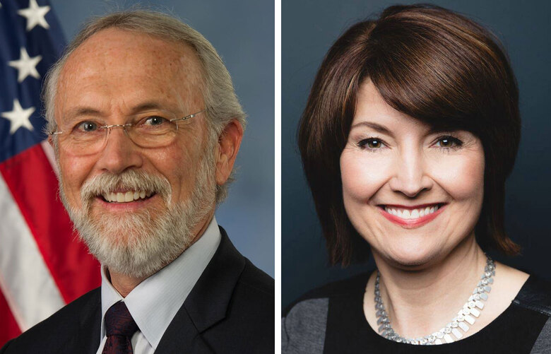 A combination photo of Washington state U.S. Reps. Dan Newhouse, left, and Cathy McMorris Rodgers, who were among 126 members of Congress who signed briefs supporting the Texas Attorney General's allegations of improper elections procedures in battleground states. (Photos Courtesy of U.S. Congress)
