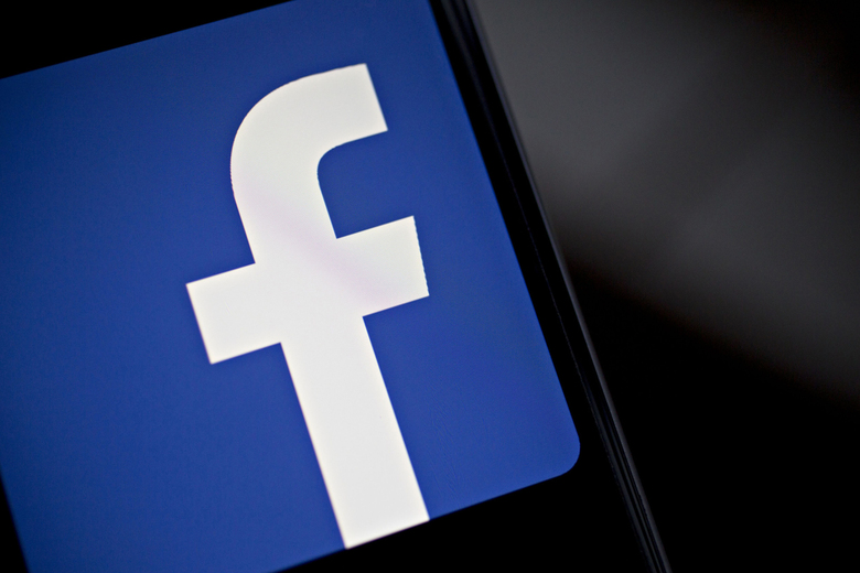 The Facebook logo. (Bloomberg photo by Andrew Harrer).