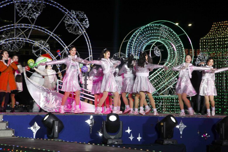 Dancers perform during celebrations to mark the New Year, at Kim Il Sung Square in Pyongyang, North Korea, early Friday, Jan., 1, 2021. (AP Photo/Jon Chol Jin)