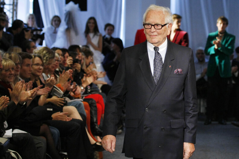 FILE – In this Sept.29, 2010 file photo, French fashion designer Pierre Cardin acknowledges applause after his ready to wear spring/summer 2011 collection presented in Paris. France's Academy of Fine Arts says Pierre Cardin, the French designer whose Space Age style was among the iconic looks of 20th-century fashion, has died at 98.(AP Photo/Jacques Brinon, File)