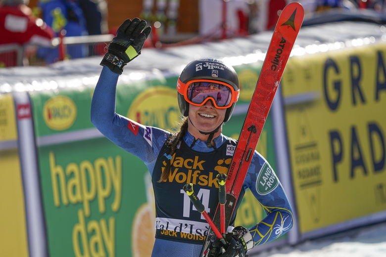 United States' Breezy Johnson gets to the finish area after completing an alpine ski, women's World Cup downhill, in Val d'Isere, France, Saturday, Dec.19, 2020. (AP Photo/Giovanni Auletta)