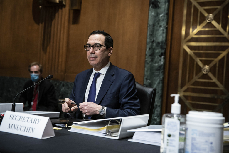 Treasury Secretary Steven Mnuchin arrives to testify at a Congressional Oversight Commission hearing on Capitol Hill in Washington on Thursday Dec. 10, 2020. (Sarah Silbiger / The Washington Post via AP, Pool)