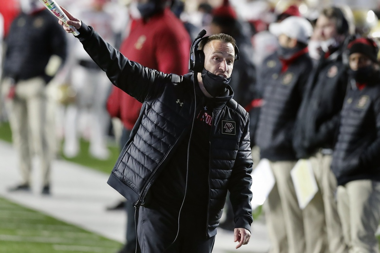 Boston College head coach Jeff Hafley reacts to a call during the second half of an NCAA college football game against Notre Dame, Saturday, Nov. 14, 2020, in Boston. (AP Photo/Michael Dwyer)