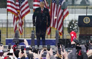 President Donald Trump arrives to speak at a rally Wednesday, Jan. 6, 2021, in Washington. (Jacquelyn Martin / The Associated Press)