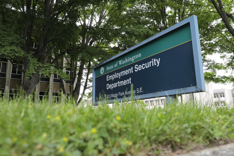 Ongoing public health restrictions due to COVID-19 continue to hit Washington state's job market. Shown is the headquarters for Washington state's Employment Security Department at the Capitol in Olympia.  (Ted S. Warren / AP, file)