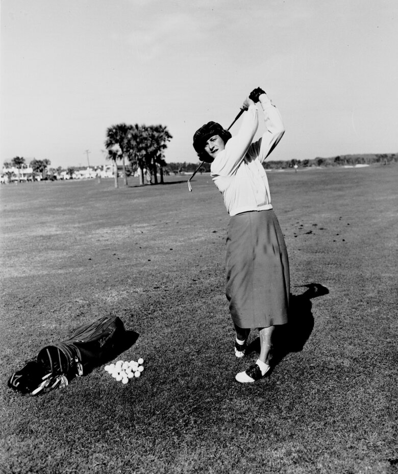 """Golfer Mildred """"Babe"""" Didrikson Zaharias, shown in 1950, was posthumously awarded the Presidential Medal of Freedom by President Donald Trump on Thursday, Jan. 7, 2021. Zaharias won 10 major golfing championships, helped found the LGPA, and won two gold medals and one silver in track and field events at the 1932 Olympics. She died in 1956. (Jim Kerlin / The Associated Press)"""