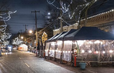 As restaurants cope with new Covid restrictions by rethinking outdoor dining. Ballard Avenue NW has tents and domes all along the avenue.     Photographed Wednesday, November 18, 2020 215681