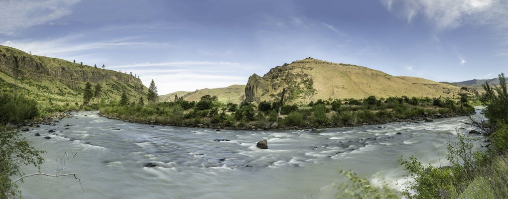 The Tieton Canyon and Naches River tributary provide a familiar yet distinctly varied landscape in spring as compared to fall. This area near Yakima is a popular recreational and agricultural corridor. (Cameron Karsten)