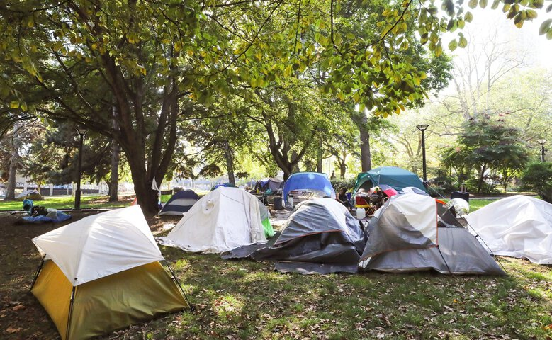 Dozens of tents at the Denny Park encampment on Oct. 2, 2020. (Alan Berner / The Seattle Times)