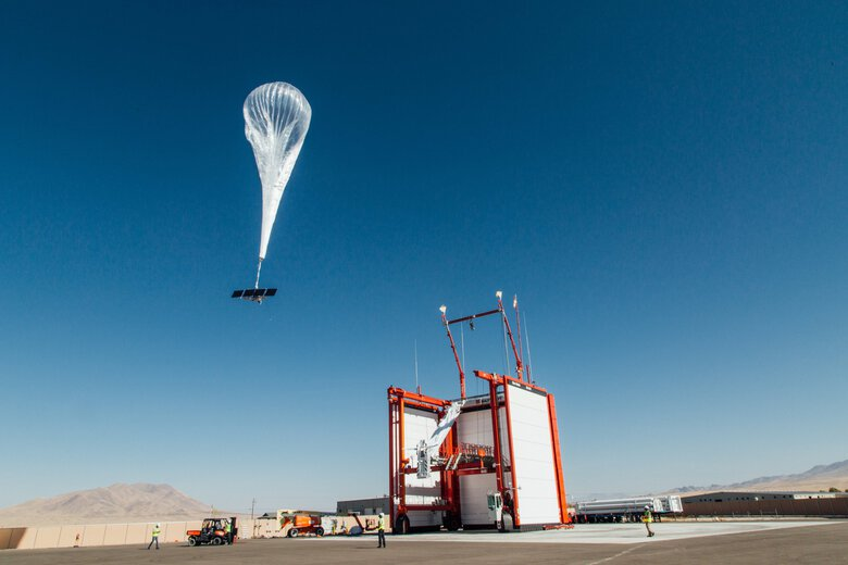 A Loon balloon takes flight from a launch site in Nevada. The balloons aimed to bring cellular connectivity to remote parts of the world, but proved too costly. (Loon)