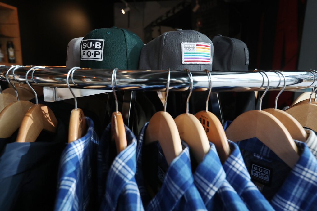 Sub Pop on 7th includes branded merchandise as well as records. (Ken Lambert / The Seattle Times)