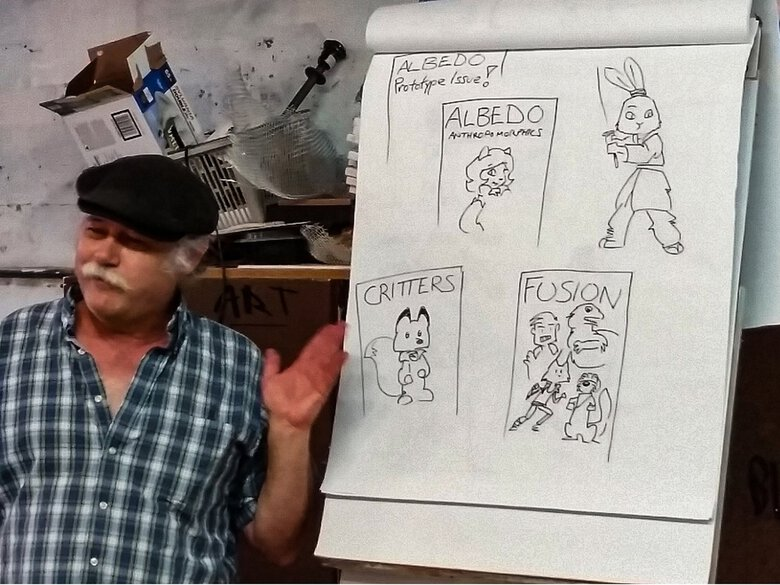 """Steve Gallacci, the original writer/illustrator for Cartoonists Northwest's first official newsletter, """"Penstuff,"""" was a guest speaker at a meeting in July 2016. (Courtesy Maureen VanderPas / Cartoonists Northwest)"""