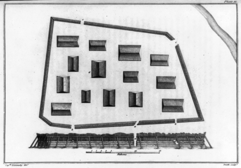 An image of a drawing depicting the layout of the sapling fort in Alaska between 1803 and 1806. The illustration appeared in a book published in 1814. Archaeologists have discovered the spot in southeastern Alaska where an Indigenous tribe built a wooden fort more than two centuries ago to resist Russian invaders. (Captain 1st Rank and Cavalier, Yuri Lisyansky / Library of Congress via The New York Times)