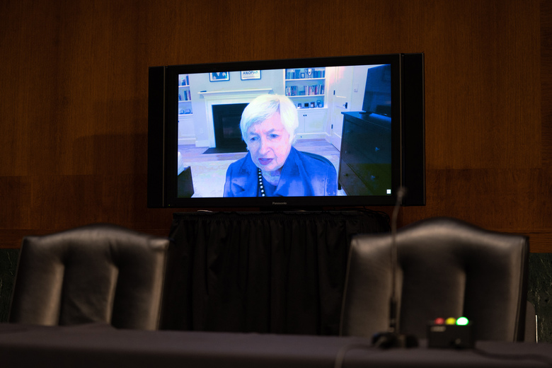 Janet Yellen appears via videoconference before on Tuesday, Jan. 19, 2021, at her confirmation hearing in Washington to become secretary of the Treasury in the Biden administration.  (Anna Moneymaker/The New York Times)