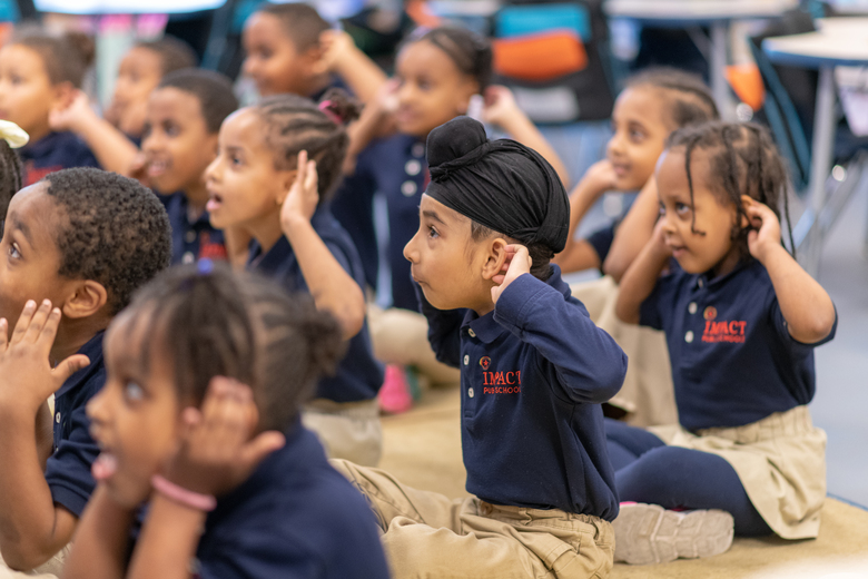Founding kindergartners at Impact | Puget Sound Elementary in 2019. (Andrew Storey / Lightcatcher Imagery)