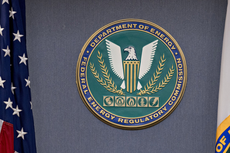The Federal Energy Regulatory Commission seal in Washington, D.C., on Dec. 20, 2018. (Bloomberg photo by Andrew Harrer).