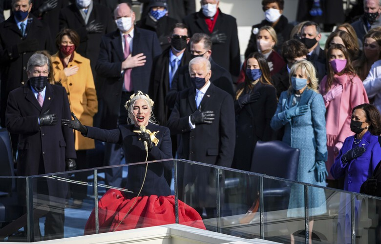 Lady Gaga sings before Joe Biden is sworn in as the 46th president of the United States on Wednesday, Jan. 20, 2021. MUST CREDIT: Washington Post photo by Jonathan Newton