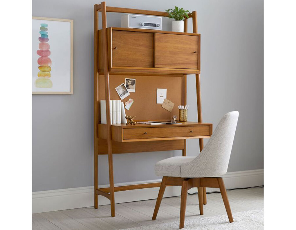A compact desk, like the West Elm Midcentury Smart Wall Desk, can help you create a better home office. (Courtesy of West Elm)