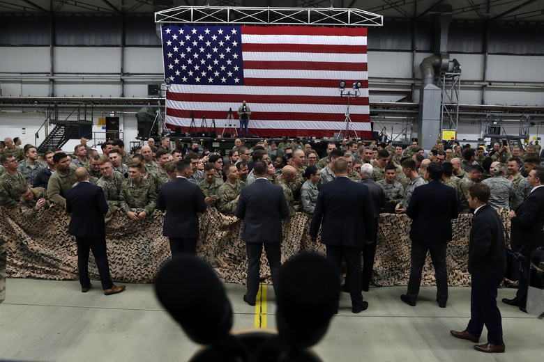 FILE – In this Oct. 18, 2019, file photo, Vice President Mike Pence greets U.S. troops after speaking at Ramstein Air Force Base, Germany. For America's allies and rivals alike, the chaos unfolding during Donald Trump's final days as president is the logical result of four years of global instability brought on by the man who promised to change the way the world viewed the United States. (AP Photo/Jacquelyn Martin, File)