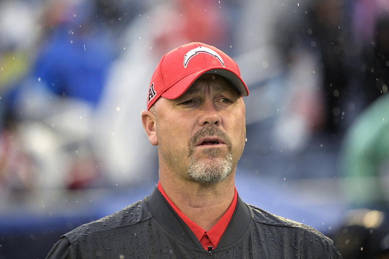 FILE – AFC defensive coordinator Gus Bradley, of the Los Angeles Chargers, watches during the first half of the NFL Pro Bowl football game against the NFC, in Orlando, Fla., in this Sunday, Jan. 27, 2019, file photo. The Las Vegas Raiders have hired Gus Bradley as their new defensive coordinator with the task of turning around one of the league's worst units. Coach Jon Gruden decided to bring on the experienced Bradley on Tuesday, Jan. 12, 2021, to fill that role Paul Guenther had for the first two-plus seasons on his staff before being fired in December. (AP Photo/Phelan M. Ebenhack, File)