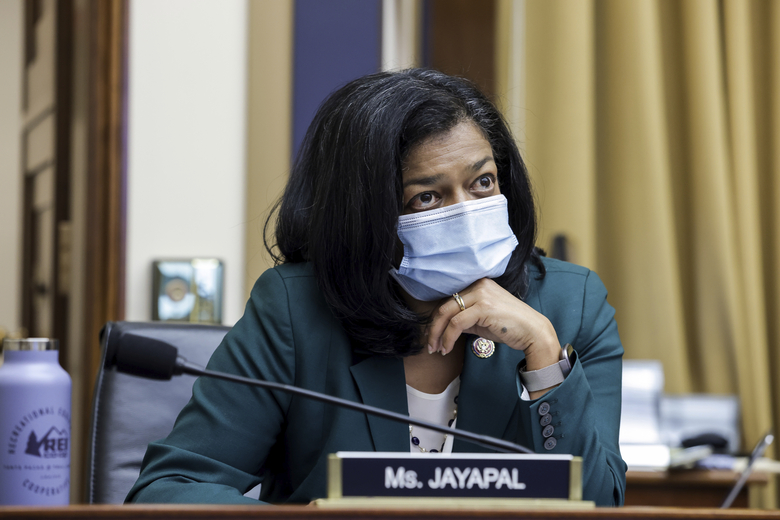Rep. Pramila Jayapal, D-Wash., seen in July, was forced to go into lockdown during last week's violent protest. She has tested positive for COVID-19 and has criticized Republican members of Congress who declined to wear a mask when it was offered to them. (Graeme Jennings/Pool via AP)