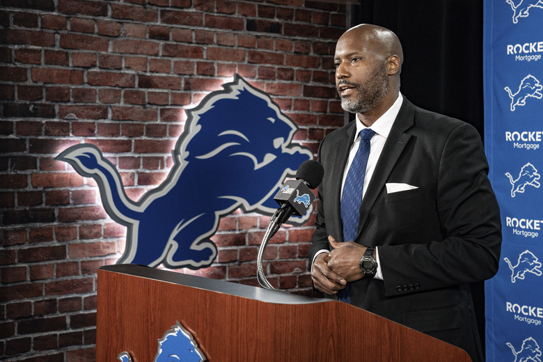 In a photo provided by the Detroit Lions, Detroit Lions general manager Brad Holmes speaks at the NFL football team's practice facility Tuesday, Jan. 19, 2021 in Allen Park, Mich. (Detroit Lions via AP)