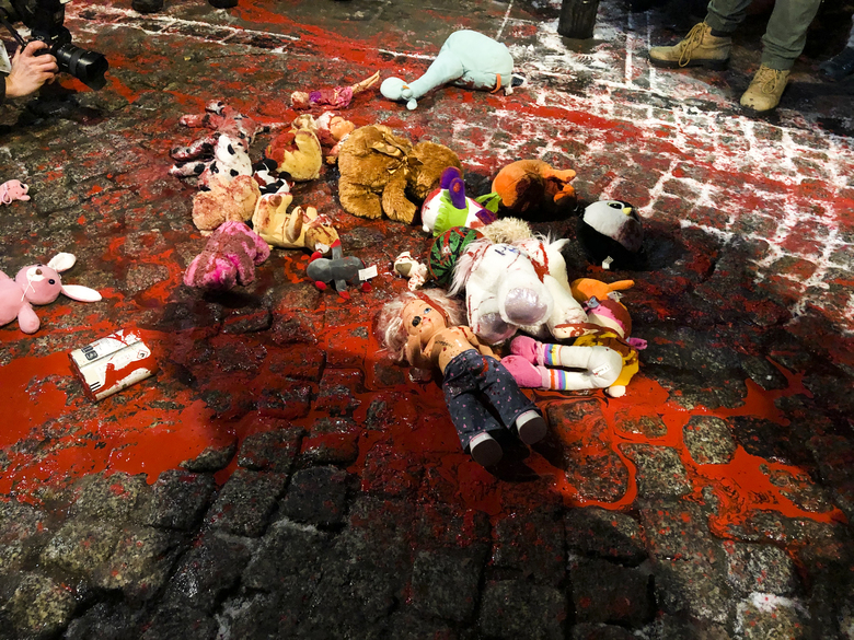Dolls and stuffed animals lay in red paint on the street during a protest against a strict anti-abortion law in Warsaw, Poland, Thursday, Jan. 28, 2021. A near total ban on abortion has finally taken effect in Poland three months after a top court ruled that the abortion of congenitally damaged fetuses is unconstitutional, a move that has sparked a new round of nationwide protests. (Photo/Czarek Sokolowski)