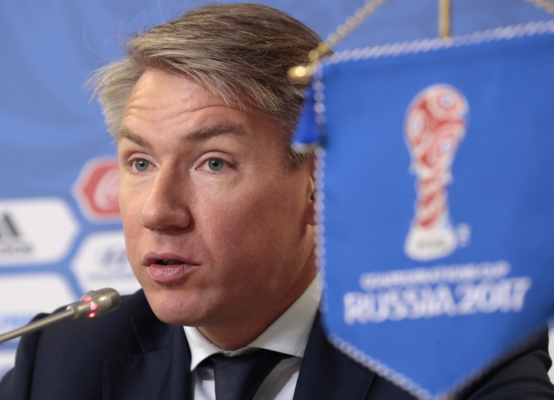 FILE – In this file photo dated Saturday, July 1, 2017, Alexey Sorokin, Local Organising Committee CEO of Russia 2018 World Cup, speaks during a news conference at the St. Petersburg Stadium, Russia.  On Thursday Jan. 14, 2021, Russia is giving up its place on FIFA's ruling council while proposing its soccer federation president Sorokin as a candidate to join UEFA's executive committee. (AP Photo/Dmitri Lovetsky, FILE)
