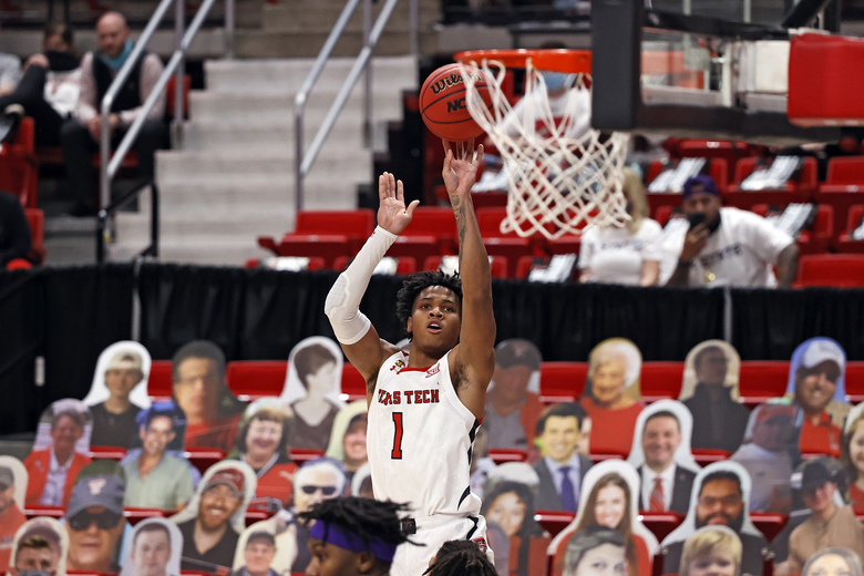 Texas Tech's Terrence Shannon Jr. (1) shoots the ball during the first half of an NCAA college basketball game against Kansas State, Tuesday, Jan. 5, 2021, in Lubbock, Texas. (AP Photo/Brad Tollefson)
