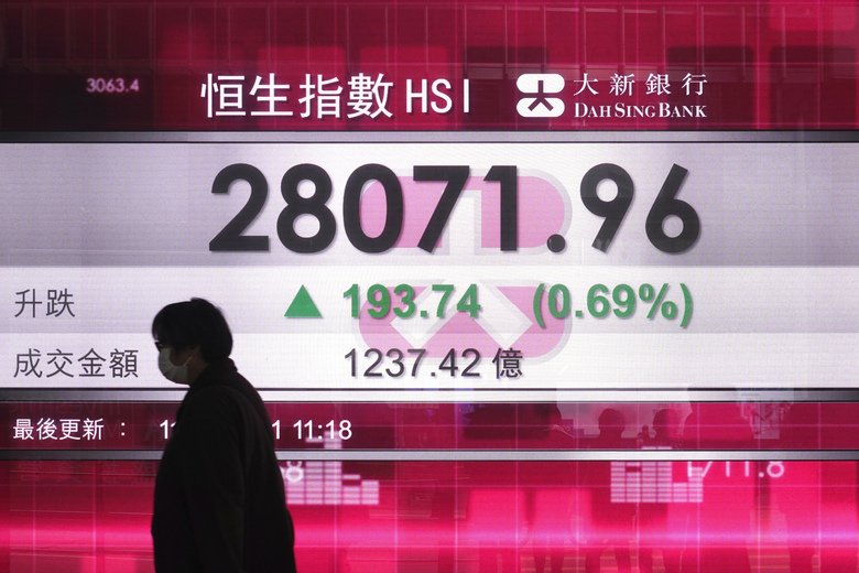A man walks past a bank's electronic board showing the Hong Kong share index at Hong Kong Stock Exchange Monday, Jan. 11, 2021. Asian shares were mostly higher Monday as bullish sentiment persisted despite continuing signs of economic damage from the pandemic. (AP Photo/Vincent Yu)