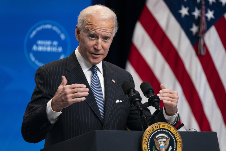 FILE – In this Jan. 25, 2021, file photo, President Joe Biden answers questions from reporters in the South Court Auditorium on the White House complex, in Washington. Biden is set to announce a wide-ranging moratorium on new oil and gas leasing on U.S. lands, as his administration moves quickly to reverse Trump administration policies on energy and the environment and address climate change.  (AP Photo/Evan Vucci, File)