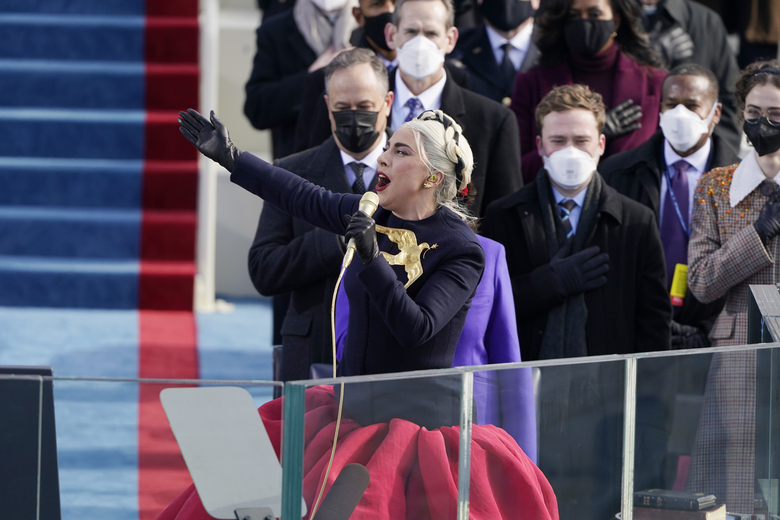 Lady Gaga sings the National Anthem during the 59th Presidential Inauguration at the U.S. Capitol in Washington, Wednesday, Jan. 20, 2021. (AP Photo/Patrick Semansky, Pool)157