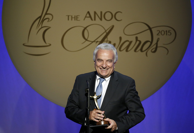 "FILE – In this Thursday, Oct. 29, 2015 filer, Francesco Ricci Bitti speaks after receiving the award for Outstanding Lifetime Achievement, during an Association of National Olympic Committees (ANOC) awards ceremony, in Washington. The IOC is adamant that the Tokyo Olympics will be held this year despite the pandemic. So, too, are Japanese organizers. Now hear it from the man who represents the international track and field, swimming and gymnastics federations as well as every other Summer Games sport. ""At the moment we're positive that the games will be held,"" said Francesco Ricci Bitti, president of the Association of Summer Olympic International Federations (ASOIF). (AP Photo/Alex Brandon, File)"