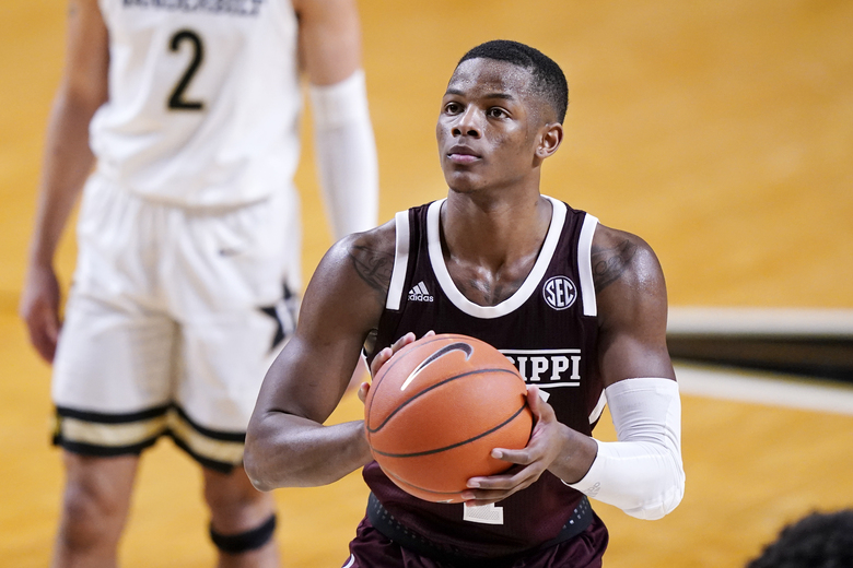 Mississippi State guard Iverson Molinar (1) shoots a free throw in the second half of an NCAA college basketball game against Vanderbilt Saturday, Jan. 9, 2021, in Nashville, Tenn. Molinar led Mississippi State with 24 points as they beat Vanderbilt 84-81. (AP Photo/Mark Humphrey)