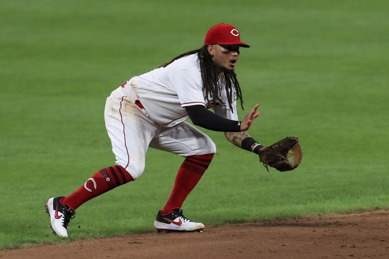 FILE – In this Aug. 12, 2020, file photo, Cincinnati Reds' Freddy Galvis fields the ball during the team's baseball game against the Kansas City Royals in Cincinnati. The Baltimore Orioles filled a hole in their infield by agreeing Tuesday, Jan. 26, with Galvis to a one-year, $1.5 million contract. Galvis broke into the big leagues with Philadelphia in 2012 and spent the last two years with Cincinnati. The 31-year-old hit .220 with seven homers and 16 RBIs during the pandemic-shortened 2020 season. (AP Photo/Aaron Doster, File)