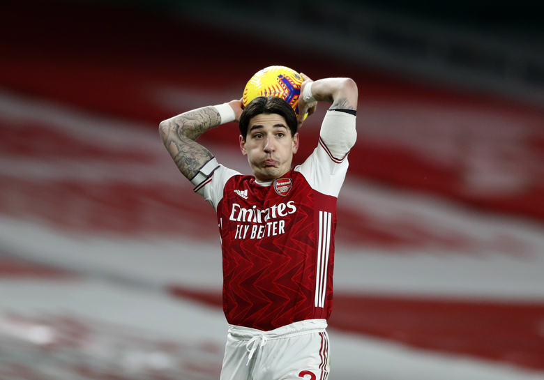 Arsenal's Hector Bellerin looks out during the English Premier League soccer match between Arsenal and Manchester United at the Emirates stadium in London, Saturday, Jan. 30, 2021. (AP Photo/Alastair Grant,Pool)
