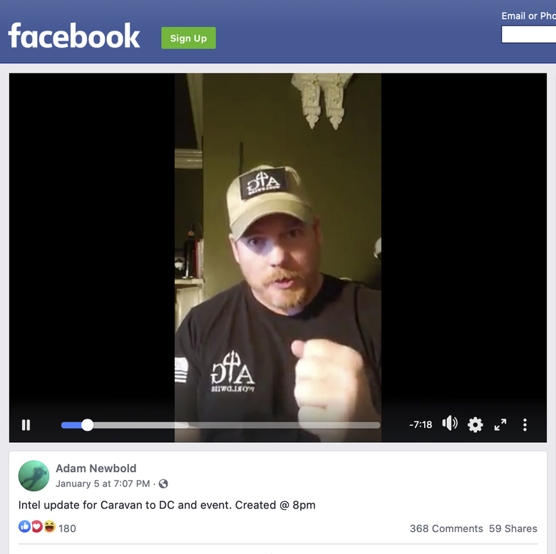 """This image shows a video by Adam Newbold posted on Facebook on Tuesday, Jan. 5, 2021. The retired U.S. Navy SEAL said he was not going to Washington, D.C., """"looking for a fight"""" and that people should treat police officers and National Guard members with respect. He added: """"We are not going down looking for a fight. We are just very prepared, very capable, and very skilled patriots ready for a fight. And we will react without hesitation when called upon to do so."""" (Facebook via AP)"""