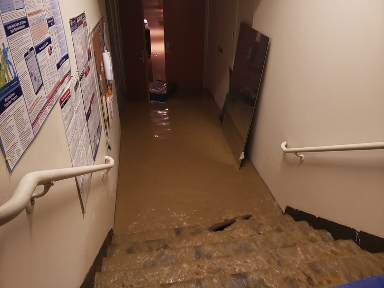 This Monday, Jan. 4, 2020 photo provided by Saint Peter's Lutheran Church shows flood damage in their church in the Manhattan borough of New York after a water main break. The Lutheran church was already reeling from the COVID-19 deaths of more than 60 congregation members during the pandemic. (Saint Peter's Lutheran Church via AP)