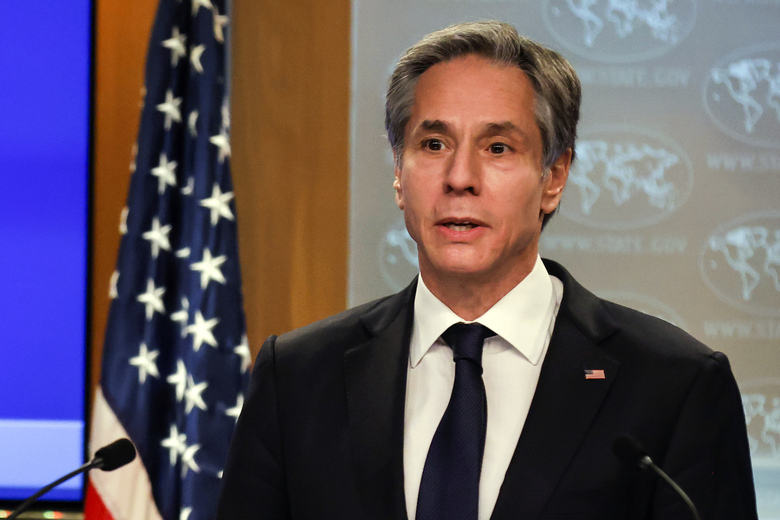 Secretary of State Antony Blinken speaks to reporters during a press briefing at the State Department in Washington, Wednesday,  Jan. 27, 2021. (Carlos Barria/Pool Photo via AP)