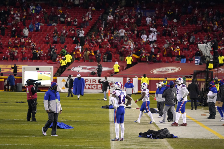Buffalo Bills wide receiver Stefon Diggs (14) stands on the field at the end of the AFC championship NFL football game against the Kansas City Chiefs, Sunday, Jan. 24, 2021, in Kansas City, Mo. The Chiefs won 38-24. (AP Photo/Jeff Roberson)
