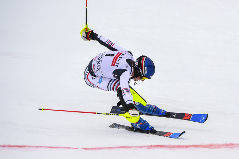 France's Clement Noel crosses the finish line to win an alpine ski, men's World Cup slalom, in Chamonix, Saturday, Jan. 30, 2021. (AP Photo/Marco Tacca)