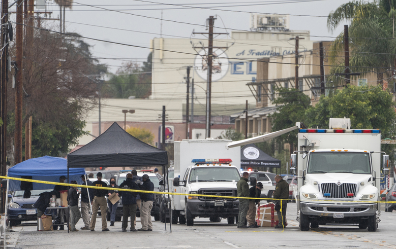 A command post is seen outside the First Works Baptist Church after an explosion in El Monte, Calif., Saturday, Jan. 23, 2021. The FBI and local police are investigating an explosion early Saturday at the Los Angeles-area church that had been the target of protests for its anti-LGTBQ message. (AP Photo/Damian Dovarganes)