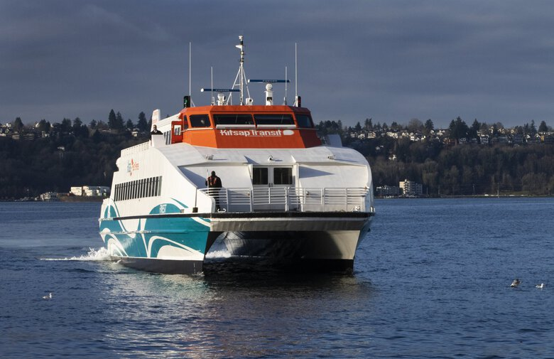 A Kitsap Fast Ferry from Kingston heads toward Pier 50, the Seattle ferry terminal, last week. The Puget Sound Regional Council has released a new study examining seven possible new routes for passenger-only ferry service.   (Ellen M. Banner / The Seattle Times)