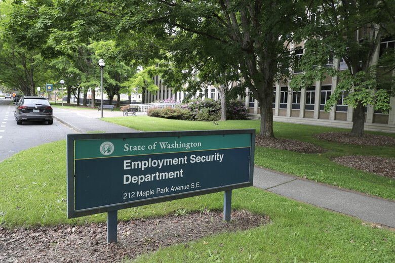 Washingtonians filed 13,607 new jobless claims last week, a 13% drop from the week before. Shown is the headquarters for the state's Employment Security Department in Olympia. (Ted S. Warren / AP)