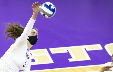 Washington outside hitter Samantha Drechsel gets a kill in the third set as the University of Washington Huskies volleyball team defeat the Arizona State Sun Devils in four sets at Alaska Airlines Arena Saturday January 23, 2021.  216184