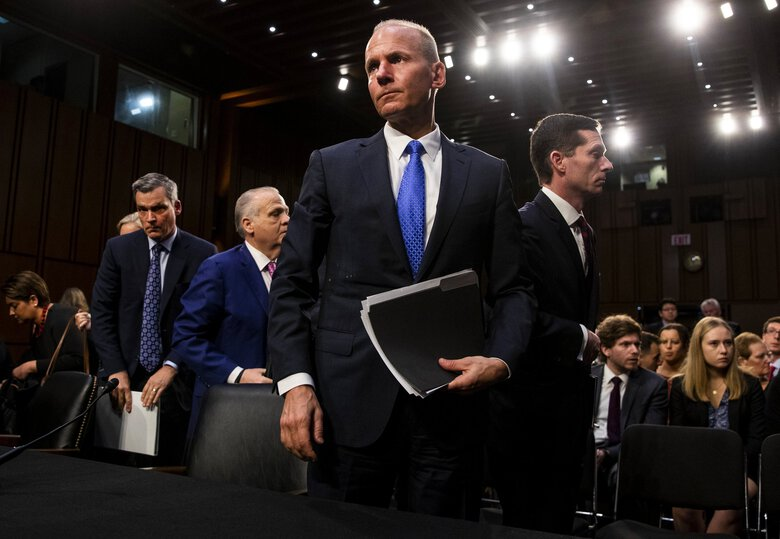 Boeing CEO Dennis Muilenburg after being grilled at a tense Senate Commerce Committee hearing on Capitol Hill in October 2019.  (Anna Moneymaker/The New York Times)
