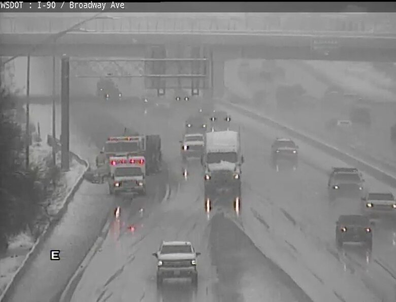 Crews gather on the scene of a collision on westbound I-90 near the Broadway interchange. Part of the off-ramp, shoulder and right lane were impacted by first responders.  (WSDOT)