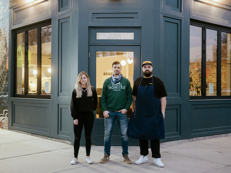 The partners, from left: Amy Keil, Justin Morse and Nicholas Dalton outside their restaurant, (Le) Brix Pizza and Wine in Denver last month. The restaurant opened as a French brasserie but quickly pivoted, temporarily, to pizza to accommodate the demand for delivery foods. (Benjamin Rasmussen / The New York Times)